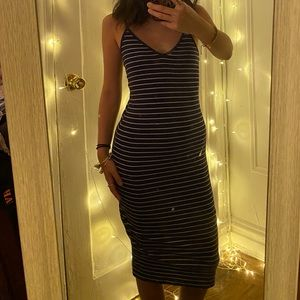 Long blue/white stripes dress